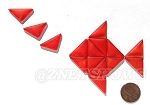 Cultured Sea Glass Cabachons and Art Tiles Triangle Puffed <b>25x12mm</b> 83-Tangerine per <b>15-pc-bag</b>