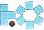 Cultured Sea Glass Cabachons and Art Tiles Square Puffed <b>25mm</b> 28-Turquoise Bay per <b>10-pc-bag</b>