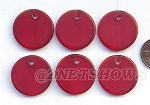Cultured Sea Glass Flat Coin Pendants <b>25mm</b> 05-Cherry Red per <b>6-pc-bag</b>