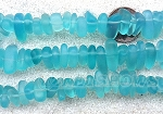 Cultured Sea Glass pebbles Beads  <b>9x6mm</b> 28-Turquoise Bay about 45 pcs   per  <b>8-in-str</b>