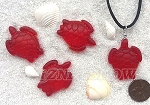 Cultured Sea Glass Large Sea Turtle Pendants <b>35x27mm</b> 05-Cherry Red per <b>4-pc-bag</b>