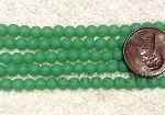 Cultured Sea Glass Round Beads <b>4mm</b>  per <b>5-strand-hank</b> - 44D - opaque spring green