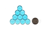 Cultured Sea Glass Cabachons and Art Tiles Coin Puffed <b>15mm</b> 28-Turquoise Bay per <b>10-pc-bag</b>