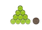 Cultured Sea Glass Cabachons and Art Tiles Coin Puffed <b>15mm</b> 22-Olive per <b>10-pc-bag</b>