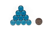 Cultured Sea Glass Cabachons and Art Tiles Coin Puffed <b>15mm</b> 82-Teal per <b>10-pc-bag</b>