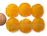 Cultured Sea Glass sand dollar Pendants <b>about 21x19mm</b> 57 - Saffron Yellow per <b>6-pc-bag</b>