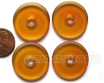 Cultured Sea Glass donut Pendants <b> 25mm</b> 17- Amber per <b> 10-pc-bag</b>