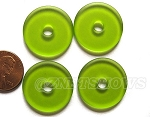 Cultured Sea Glass donut Pendants <b> 25mm</b> 22 - Olive per <b> 10-pc-bag</b>