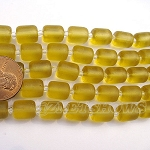 Cultured Sea Glass barrel nugget  Beads <b>About 10x8mm</b> 16-Desert Gold (17-pc-str) per <b>5-str-hank</b>
