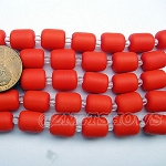 Cultured Sea Glass barrel nugget  Beads <b>About 10x8mm</b> 160-opaque orange (17-pc-str) per <b>5-str-hank</b>