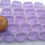 Cultured Sea Glass barrel nugget  Beads <b>About 13x10mm</b> 39-Periwinkle Changes (13-pc-str) per <b>5-str-hank</b>