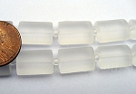 Cultured Sea Glass rectangle puffed Beads <b>14x10mm</b> 01-Crystal per <b>12-pc-str</b>