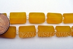 Cultured Sea Glass rectangle puffed Beads <b>14x10mm</b> 57-Saffron Yellow per <b>12-pc-str</b>
