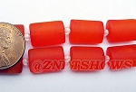 Cultured Sea Glass rectangle puffed Beads <b>14x10mm</b> 83-Tangerine per <b>12-pc-str</b>
