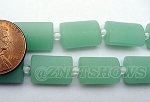 Cultured Sea Glass rectangle puffed Beads <b>14x10mm</b> 892-Opaque Seafoam Green per <b>12-pc-str</b>