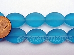 Cultured Sea Glass oval Beads <b>18x13mm</b> 30-Pacific Blue per <b>11-pc-str</b>