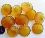 Cultured Sea Glass concaved coin Pendants <b>25mm</b> 17-Amber Bottle bottom style per <b>12-pc-bag</b>