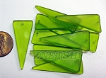 Cultured Sea Glass shield  Pendants <b>about 37x15mm </b> 22-Olive triangle per <b>10-pc-bag </b>