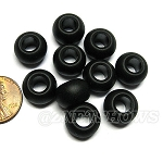 Cultured Sea Glass rondelle Beads <b>14x10mm</b> 02-Jet Black large hole per <b>10-pc-bag</b>