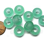 Cultured Sea Glass rondelle Beads <b>14x10mm</b> 89-Autumn Green large hole per <b>10-pc-bag</b>