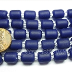 Cultured Sea Glass barrel nugget Beads <b>10x8mm</b> 159-Opaque royal blue color per <b>5-str-hank</b>
