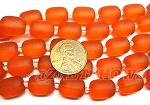 Cultured Sea Glass barrel nugget Beads <b>About 13x10mm</b> 83-Tangerine (13-pc-str) per <b>5-str-hank</b>