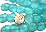 Cultured Sea Glass square nugget Beads <b>18x17mm</b> 89-Autumn Green per <b>5-str-hank(6-pc-strad)</b>