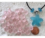 Cultured sea glass large hole roundelle <b>about 10mm</b> 06- Blossom Pink <b>36-pc-bag or strand</b>, hand-drilled 2.5mm large hole, perfect on leather cords or different types of chains, only $0.07/bead wsale!