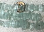 Cultured Sea Glass pebbles Beads  <b>9x6mm</b> 88-Light Aqua `Coke` bottle Seafoam about  47 pcs    per  <b>8-in-str</b>. For this Color:  pricing reflects a 30% off to cover some pieces with chips, scratches or imperfect drilling. So NO RETURNS PLEASE!