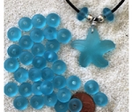 Cultured sea glass large hole roundelle <b>about 10mm</b> 28- turquoise bay <b>36-pc-bag or strand</b>, hand-drilled 2.5mm large hole, perfect on leather cords or different types of chains, only $0.07/bead wsale!