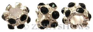 BM Large Hole Beads <b>10x8mm</b> Other Colors flower with black quartz beads - Silver Plated per   <b>5-pc-bag</b>