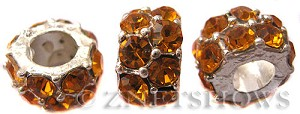 BM Large Hole Beads <b>12x7mm</b> Other Colors amber quartz beads - Silver Plated per   <b>5-pc-bag</b>