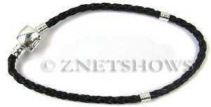 BM Bracelets <b>about 8.5 inches</b> Antique Silver Tone black leatheroid braid cord with silver-plated magnetic copper clasp per   <b>1-str-bag</b>