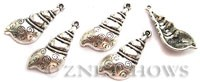 BM Sea Life - Conch Shell Charms <b>30x15mm</b> Antique Silver Tone  per   <b>4-pc-bag</b>