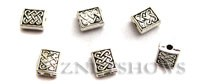Base Metal Beads <b>7x6mm</b> Antique Silver Tone celt pattern (same piece qty as the 5-bag-hank) per   <b>90-pc-bag</b>