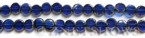 Cultured Sea Glass coin puffed Beads  <b>8mm</b> 33-Royal Blue electroplated with silver on the borders   per  <b>13-in-str</b>