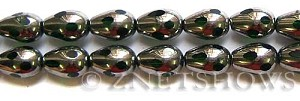 Cultured Sea Glass teardrop round Beads  <b>15x10mm</b>  electroplated with silver faceted green color   per  <b>13-in-str</b>
