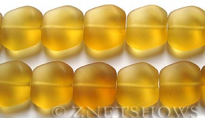 Cultured Sea Glass square nugget Beads  <b>18x17mm</b> 16-Desert Gold (11-pc-strad)   per  <b>8-in-str</b>