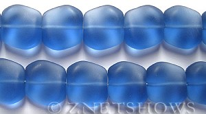 Cultured Sea Glass square nugget Beads  <b>18x17mm</b> 31-Light Sapphire (11-pc-strad)   per  <b>8-in-str</b>