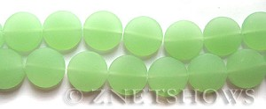 Cultured Sea Glass coin puffed Beads  <b>15mm</b> 43-Opaque Seafoam Green (14-pc-str)   per  <b>8-in-strand</b>