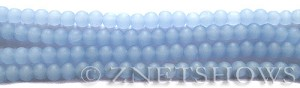 Cultured Sea Glass round Beads  <b>4mm</b> 47-Opaque Sky Blue (48 pcs in 8-in-strand)   per  <b>5-strand-hank</b>