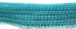 Cultured Sea Glass round Beads  <b>4mm</b> 82-Teal (48 pcs in 8-in-strand)   per  <b>5-strand-hank</b>