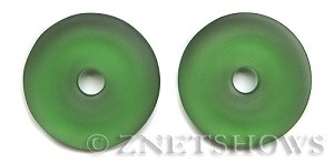 Cultured Sea Glass donut Pendants  <b>40mm</b> 25-Shamrock    per  <b>piece</b>