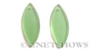Cultured Sea Glass marquise spindle Pendants  <b>48x19mm</b> 23-Peridot    per  <b>piece</b>