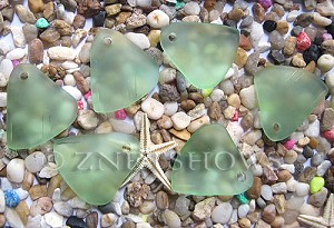 Cultured Sea Glass fancy triangle Pendants  <b>29x25mm</b> 23-Peridot    per  <b>10-pc-bag</b>