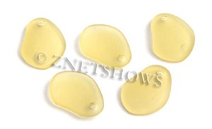Cultured Sea Glass small freeform curved Pendants  <b>26x18mm</b> 16-Desert Gold    per  <b>7-pc-bag</b>