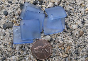 Cultured Sea Glass bottle-curved diamond square Pendants  <b>18x18mm</b> 31-Light Sapphire (New and Smaller Size)   per  <b>8-pc-bag</b>