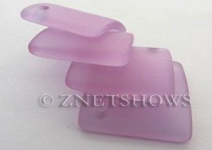 Cultured Sea Glass bottle-curved diamond square Pendants  <b>22x22mm</b> 39-Periwinkle Changes    per  <b>6-pc-bag</b>