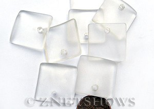 Cultured Sea Glass concaved large square Pendants  <b>22x22mm</b> 01-Crystal    per  <b>8-pc-bag</b>
