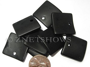 Cultured Sea Glass concaved large square Pendants  <b>22x22mm</b> 02-Jet Black    per  <b>8-pc-bag</b>